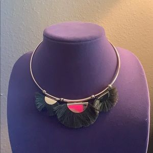Green fringe necklace and earring set
